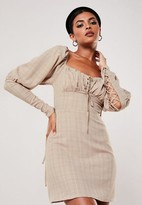 Missguided Nude Plaid Print Lace Up Milkmaid Dress