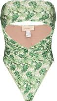 Adriana Degreas Dahlia print strapless swimsuit
