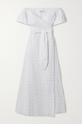 Mara Hoffman + Net Sustain Adelina Organic Cotton-jacquard Wrap Maxi Dress - White