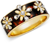 Charter Club Gold-Tone Crystal and Tortoise-Look Flower Bangle Bracelet, Created for Macy's
