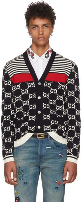 Gucci Navy Wool Striped GG Cardigan