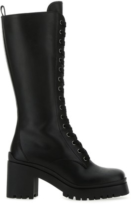 Miu Miu Knee-High Lace-Up Boots