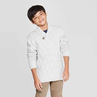 Cat & Jack Boys' Long Sleeve Pullover Sweater White