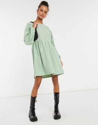 Daisy Street long-sleeved mini smock dress in pastel cord