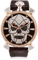 GaGa MILANO Bionic Skull Gold Watch With Diamonds