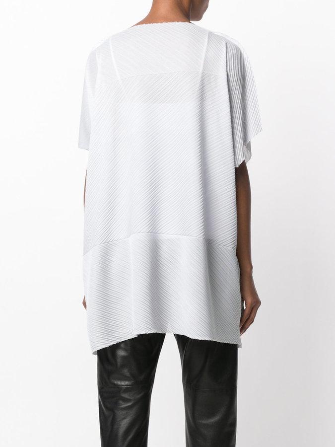 Issey Miyake slash-neck tunic top