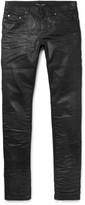 Saint Laurent - Slim-fit 15cm Hem Crinkled Stretch-denim Jeans