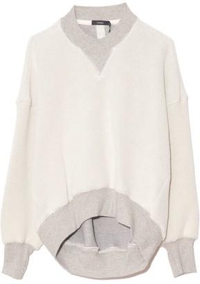 Bassike Reverse Fleece Cut Out Sweatshirt in Grey Marl