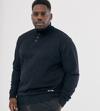 Duke king size jumper with button collar in navy marl