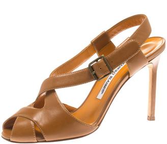 Manolo Blahnik Brown Leather Criss Cross Sandals Size 39.5