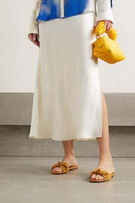 Manolo Blahnik Notamu Bow-detailed Plisse-satin And Leather Slides - Yellow