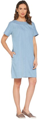 Martha Stewart Short Sleeve Denim Shift Dress