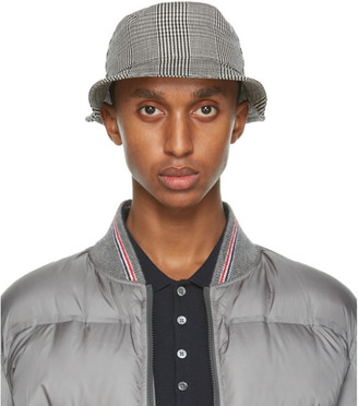 Thom Browne Black and White Check Bucket Hat