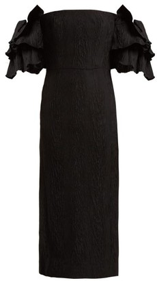 ALEXACHUNG Tiered-sleeve Cloque Dress - Black