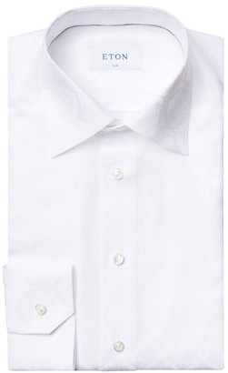 Eton Slim-Fit White Floral Jacquard Dress Shirt