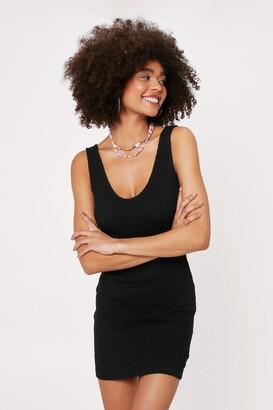 Nasty Gal Womens You Shirred Me Fitted Mini Dress - Black