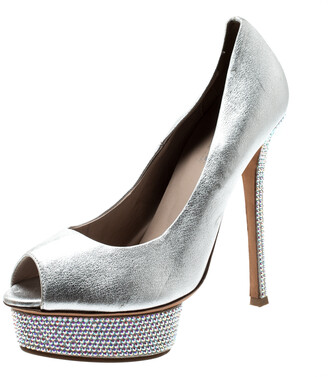 Le Silla Metallic Silver Leather Crystal Embellished Platform Peep Toe Pumps Size 38