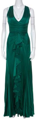 Zac Posen Green Silk Satin Panelled Bodice Gown M