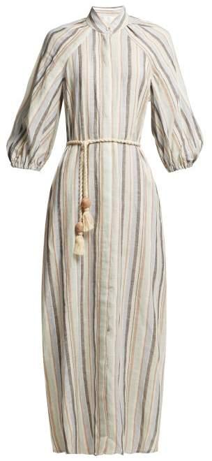Zimmermann Wayfarer Striped Tie Waist Linen Blend Dress - Womens - Blue Stripe
