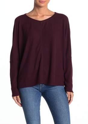 H By Bordeaux Ribbed Cuff Dolman Sleeve Brushed Sweater
