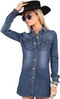 Niseng Women's Casual Jean Shirt Dress Denim Pocket Fitted Tunic Top XXL