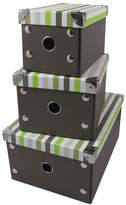 Set Of 3 Foldable Storage Boxes Stripes