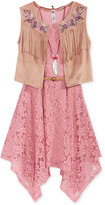 Beautees 2-Pc. Lace Dress and Fringed Vest Set, Big Girls (7-16)