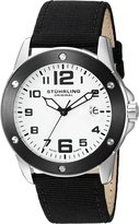 Stuhrling Original Men's 'Aviator' Swiss Quartz Stainless Steel and Canvas Sport Watch, Color:Black (Model: 463.33DBO2)