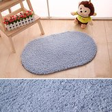 Razou Soft Shaggy Rugs Pad Non-slip Oval Doormat Entry Carpet For Bedroom Playroom Living /Kids /Baby Room (15x23 inch, Gray)