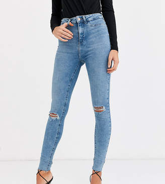 New Look Tall ripped skinny jean in mid blue