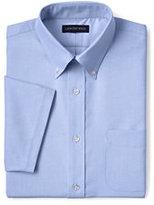 Classic Men's Short Sleeve Buttondown Stain Release Oxford Sport Shirt-Gray Heather