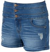 Tinseltown Juniors' Triple Stack Denim Shortie Shorts