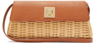 Sparrows Weave - The Clutch Wicker And Leather Cross-body Bag - Womens - Tan
