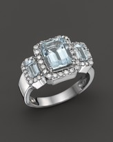 Bloomingdale's Aquamarine and Diamond Ring in 14K White Gold
