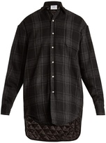 Vetements Step-hem checked wool-blend flannel shirt