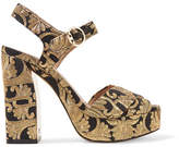 Tory Burch Loretta Brocade Platform Sandals - Gold