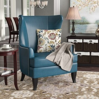 "Three Posts Brookport 30.7"" W Faux Leather Wingback Chair Upholstery: Teal Faux Leather"