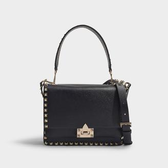 Valentino Garavani Rockstud Shoulder Bag In Black Calfskin