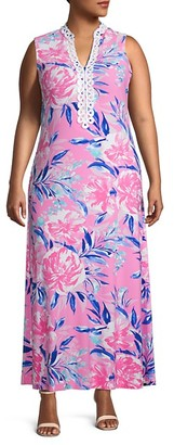 Pappagallo Plus Sleeveless Printed Maxi Dress