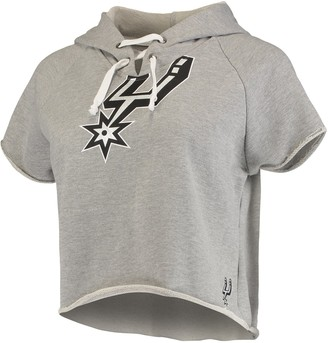 Women's Heathered Gray San Antonio Spurs French Terry Raw Edge Cropped Hoodie