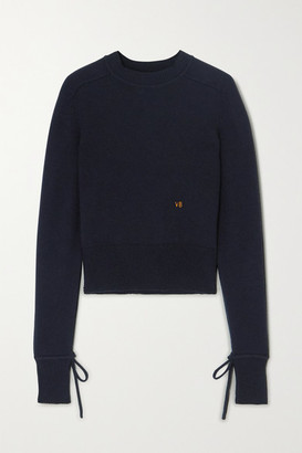 Victoria Beckham Embroidered Cashmere-blend Sweater - Navy