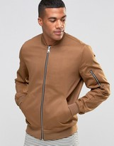 Asos Bomber Jacket With Sleeve Zip In Tobacco