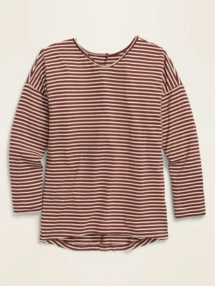 Old Navy Luxe Drop-Shoulder Striped Voop-Neck Top for Girls