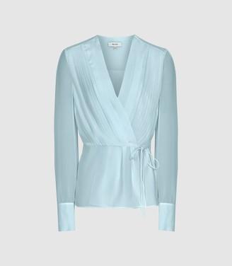 Reiss Nola - Wrap Front Blouse in Blue