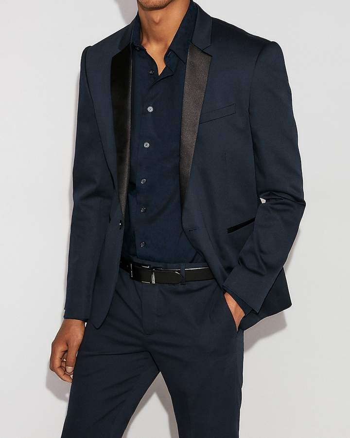 Express Extra Slim Blue Satin Accent Tuxedo Jacket