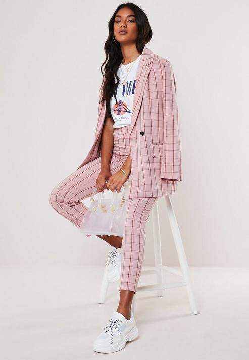 Missguided Pink Plaid Cigarette Pants