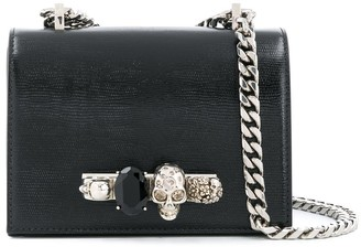 Alexander McQueen Jewelled lizard-effect cross-body bag