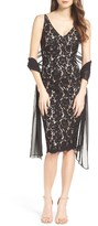 Vince Camuto Women's Lace Sheath Dress With Shawl