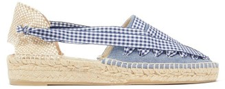 Castaner Grace Gingham And Canvas Espadrilles - Womens - Navy
