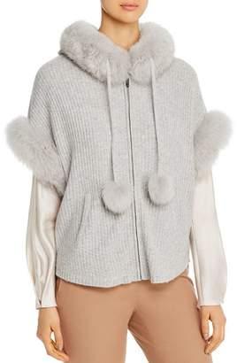 Max & Moi Bonie Fox-Fur-Trimmed Merino-Wool & Cashmere Cardigan